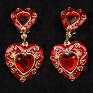 Vintage Signed Don Lin Heart Statement Earrings